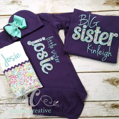 Big Little Sister Sibling Shirt Gown Set PURPLE - Big Sister Shirt - Newborn Coming Home Outfit - Baby Girl Gift - Photo Prop