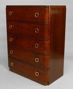 Art Deco American cabinet/case-piece chest leather