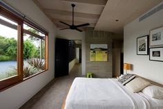 The Eco 2 ceiling fan can be used for both indoor and outdoor, undercover applications. If looking for a wall control operated AC fan consider the Eco With three speed settings control the amount of air movement throughout the summer. Eldorado Stone, Bedroom Black, One Bedroom, Bedroom Ceiling, Contemporary Bedroom, Modern Bedroom, Roll Down Shades, Black Ceiling Fan, Bedroom Photos