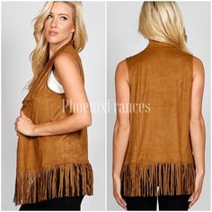 NEW Cognac Faux Suede Fringe Vest Medium Beautiful cognac faux suede vest. Fringe detailing at bottom is so on trend this season and a perfect addition for the boho babies closet! Great for layering. Size medium. Also available in small and large in a separate listing. Jackets & Coats Vests