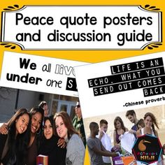 These 3 quotes promote peace in your classroom and beyond. They feature a variety of images including children of different races and cultures. 2 posters to choose from for each quote.Ideal for display or discussion in Montessori or mainstream classes.