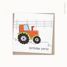 Terry Tractor Party Invitation