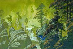 roger dean. like the striking deep blue bird on this green landscape