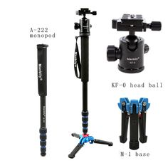 Manbily 165cm Portable Professional A222 Aluminum Camera Tripod Monopod with M1 Stand base&ball head for Canon Nikon Sony camera //Price: $31.30      #sale