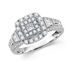 One of the classic 14k white gold diamond ring - Unique setting! - http://www.mybridalring.com/Engagements-Rings/round-diamond-engagement-ring-in-14k-white-gold/