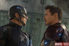 Captain America (Chris Evans) & Iron Man (Robert Downey Jr.) in Marvel's 'Captain America: Civil War.'