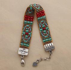 """$398 VIVOS BRACELET -- Adonnah Langer hand weaves beads in vibrant hues on her Lilliputian loom. Sterling silver end caps, lobster clasp. Exclusive. Made in USA. 6-1/2"""" to 7-1/4""""L."""