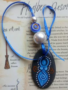 Sea Stone Spiral Goddess Wall Window HANGING CHARM Handmade.  PAGAN Wicca Witch