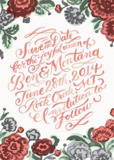 Save The Date Postcard by Jill De Haan, via Behance