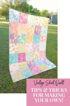 In the mood to sew the softest, most cozy quilt ever? Grab your vintage sheets and ready these tips to make the most of your vintage sheet fabric! Sewing Hacks, Sewing Tutorials, Sewing Crafts, Sewing Projects, Sewing Tips, Diy Crafts, Quilting Tips, Quilting Designs, Quilt Design