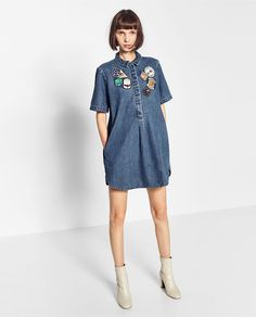 Image 1 of PATCH DENIM DRESS from Zara