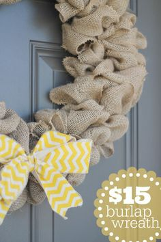 $15 Burlap Wreath - so much easier to make than you would think and so fun for fall!