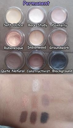 MAC paint pot in Soft Ochre, Bare Study, Painterly, Rubenesque, Indianwood, Groundwork, Quite Natural, Constructivist, Blackground