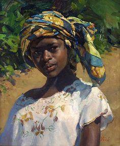 Delbert Gish-'Girl with Head Scarf'-The Art Spirit Gallery of Fine Art