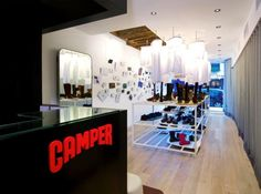 Camper Store Interior Design in Paris, France France Wallpaper, Shoe Display, Display Ideas, Camper Store, Modern Interior Design, Store Design, Photo Wall, Living Room, Architecture
