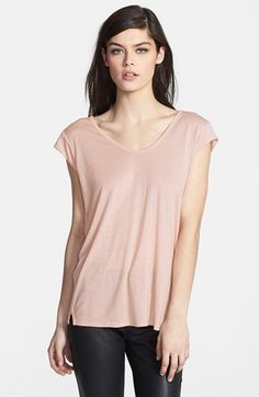 $38, Beige Crew-neck T-shirt: Trouve Luxe Tee. Sold by Nordstrom. Click for more info: https://lookastic.com/women/shop_items/50097/redirect