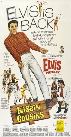 Today in Elvis' film Kissin' Cousins released. 1960s Movies, Old Movies, Vintage Movies, Great Movies, Indie Movies, Elvis Presley Movies, Elvis Presley Photos, Yvonne Craig, Old Movie Posters