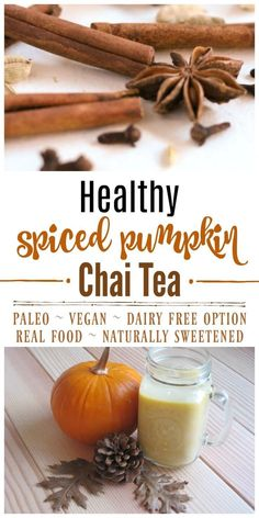 Creamy, spicy and simply divine! ThisHealthy Spiced Pumpkin Chai Tea is caffeine free, has lots of fresh ginger, a delicious blend of spices, isnaturally sweetened and has Paleo and vegan options. | Recipes to Nourish // Gluten Free | Dairy Free | Fall Drinks via @recipes2nourish