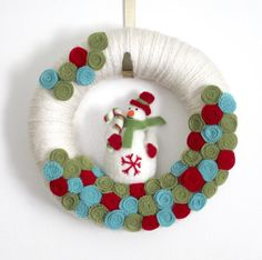 Snowman Wreath Winter Wreath Holiday Wreath by TheBakersDaughter, $46.00