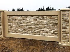 Stone Wall Panels Fencing - Use Advanced Precast Concrete Forming Instead House Wall Design, House Fence Design, Front Wall Design, Exterior Wall Design, Modern Fence Design, Door Gate Design, Concrete Fence Wall, Precast Concrete Panels, Boundry Wall