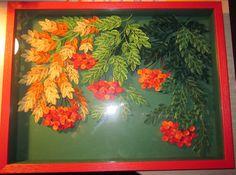 "Quilling - Original quilled framed artwork under glass ""Sorbus"". Квиллин..."