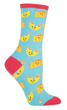 Comfort food + comfort sock = everyone needs these!  Mac n' Cheese on a bright blue crew sock.  Fits women's shoe size 5-10.