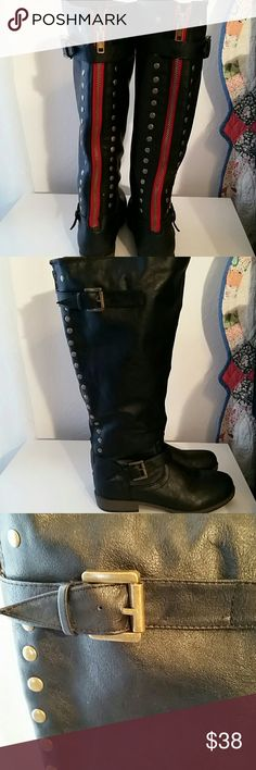 "Black 18"" tall wide calf boots from Macy's These are 18 inches tall and wide calf boots.  Decorative studs on both sides of the back zipper which is red.  Worn once and EUC.   Rubber sole.   Super cute. If you like these check out my closet as I have other styles as well. Macy's Shoes Over the Knee Boots"