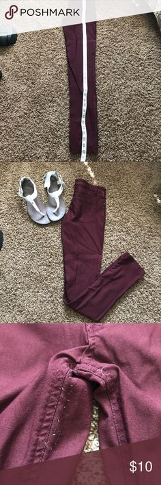 Fall color jeggings Super cute. These are jeggings that look like pants :) they are maroon and do do have some stretch. They are a size Medium. The size on the tape measure is from the very top of the pants to the very bottom. Also some elastic is sticking out between the legs but can be trimmed & it wouldn't be a problem Pants Leggings