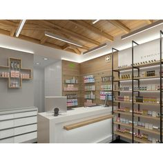 Find high quality drug display wall mounted shelves here from MOOKOO which is one of the leading Pharmacy Shop Display manufacturers and suppliers in China. 3d Interior Design, Design Exterior, Interior Design Services, Boutique Interior, Pharmacy Store, Hospital Pharmacy, Pharmacy Humor, Supermarket Design, Cosmetic Shop