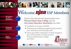 Educational opportunities for NJEA ESP Members at Thomas Edison State College