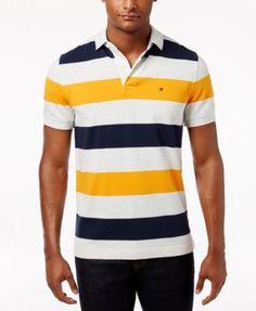 Men'S Classic-Fit Striped Cotton Polo, Flame Orange Multi
