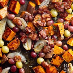 Naturally bacon makes everything better, but bacon and sweet potatoes are a match made in heaven. Especially when you roast sweet potatoes with shallots and grapes. Grape Recipes, Potato Recipes, Vegetable Recipes, Whole Food Recipes, Roasted Shallots, Roasted Sweet Potatoes, Pork Shoulder Roast, Dinner Menu, Side Dishes