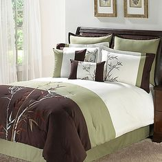 Bands of green, brown, and white provide a fresh backdrop for beautifully embroidered branches in the stylish and contemporary Julian Comforter Set. The simplicity and clean lines in this set will create a serene, Zen-like mood in any bedroom.