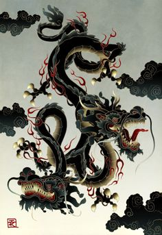 """Dragon septagonstudios : Ian Kim * """"Song: Now That She Is Here"""" by Hayden Carruth, an American poet . Chinese Dragon, Chinese Art, Fantasy Creatures, Mythical Creatures, Yi King, Dragon Horse, Dragon Cross Stitch, Dragons, Water Dragon"""