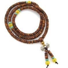 Evolatree - Brown Wood  Yellow Turquoise Offset Mala Prayer Bead Necklace