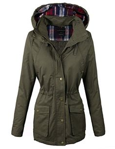 867570875e28 makeitmint Women's Quilting Padded Military Anorak Jacket w/ Plaid Hood  Medium YJH0016_Olive