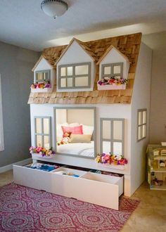 Mias Country Cottage Bed Loft Bunk Bed Dollhouse or Playhouse. optional- Trundle Slide w/Storage Staircase w/Storage or Ladder Loft Bunk Beds, Bunk Beds With Stairs, Kids Bunk Beds, Cool Kids Beds, Bunk Bed With Slide, House Bunk Bed, Cool Kids Bedrooms, Girl Bedroom Designs, Girls Bedroom