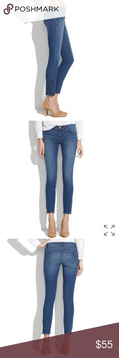"""Madewell Skinny Skinny Ankle Jeans Lean and sexy fit, cropped to show just the right amount of ankle and finished with an ankle zip (for a customizable look). Why they're so great: special denim has tons of stretch, never bags out and does life-altering things to the rearview.  Great condition. Only worn a few times.  Sit at hips. Fitted through hip and thigh, with a slim leg. Front rise: 8"""". Inseam: 28"""". Leg opening for size 25: 9 3/4"""". 92% cotton/5% poly/3% spandex. Madewell Jeans Skinny"""