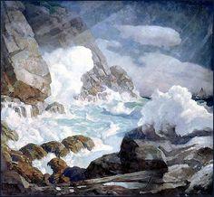 """Maine Headland"""" (Black Head, Monhegan Island) 1936-38 by N.C. Wyeth"""