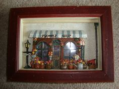 Hand Painted Flower Shop Storefront In Shadow Box 10 1/2 '' long 7 1/2'' h