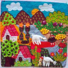 Anden Lamas Applique Quilts, Embroidery Applique, Peruvian Art, Cultural Crafts, House Quilts, Paint Stain, Textile Art, Quilt Patterns, Art For Kids