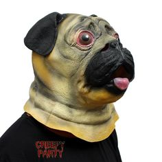 Amazon.com: CreepyParty Deluxe Novelty Halloween Costume Party Latex Animal Head Mask Pug Dog: Toys & Games