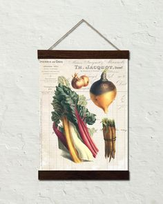 French Vegetable Collage No. 1 Botanical Art Canvas Wall Hanging