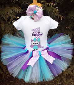 This adorable owl baby girl 1st birthday tutu set will have her looking pretty as a picture! Just watch her face light up when you dress her up