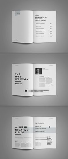 Proposal and Portfolio TemplateMinimal and Professional Proposal Brochure template for creative businesses, created in Adobe InDesign, Microsoft Word and Apple Pages in International DIN A4 and US Letter formatThis Proposal Template features: A4 …