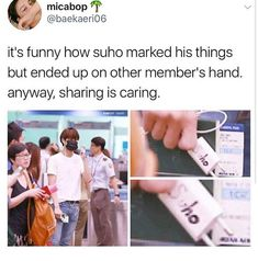 """I love how the """"Su"""" in Suho was slightly cancelled and now it seems like it spells Ho 😂 Chanyeol, Kyungsoo, Funny Kpop Memes, Exo Memes, Exo Ot12, Kaisoo, Xiuchen, Kpop Exo, Kpop Groups"""