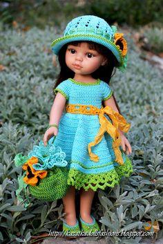 KasatkaDollsFashions: Наряд крючком для кукол подружек 32 см Паола Рейна (Paola Reina)