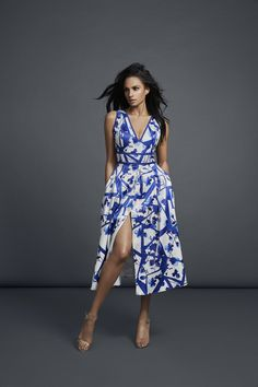 Alesha Dixon SS17 Collection Abstract Flower Print V-Neck Midi Dress in Blue