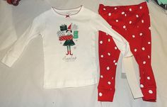 49098d86a53a New Baby Girl Carter's First Christmas Pj 2 Pc Size 9 M Santa's Helper Elf  Gift