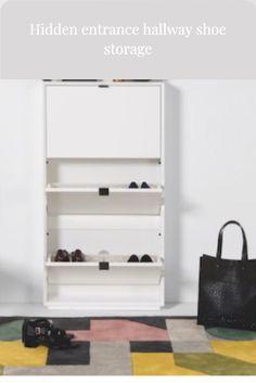 Hidden shoe storage by @madedotcom Front Door Shoe Storage, Boot Storage, Bench With Shoe Storage, Wellies Boots, Space Saving, Shoe Rack, Small Spaces, Doors, Interior